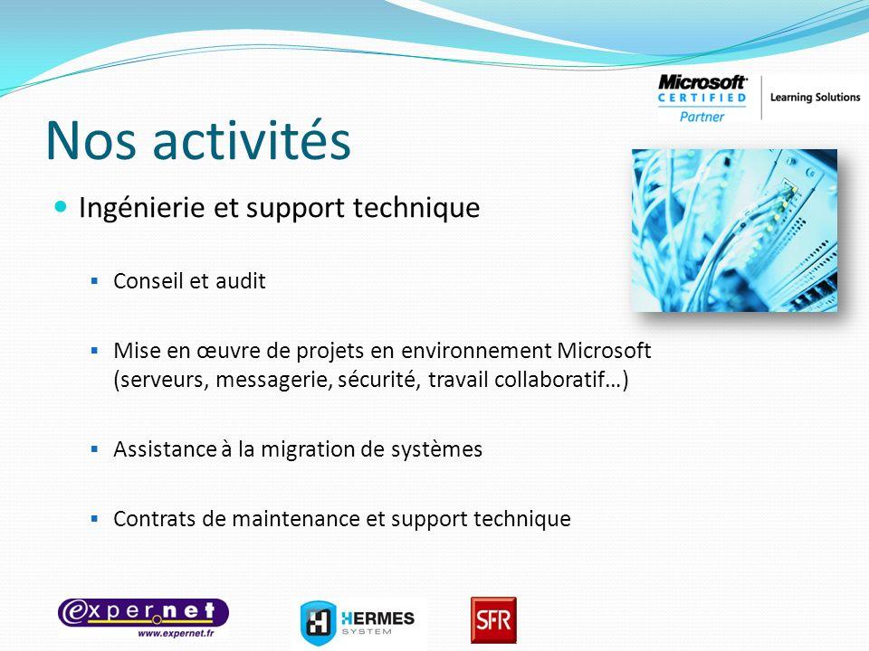 Nos activités Ingénierie et support technique Conseil et audit Mise en œuvre de projets en environnement Microsoft (serveurs, messagerie, sécurité, tr