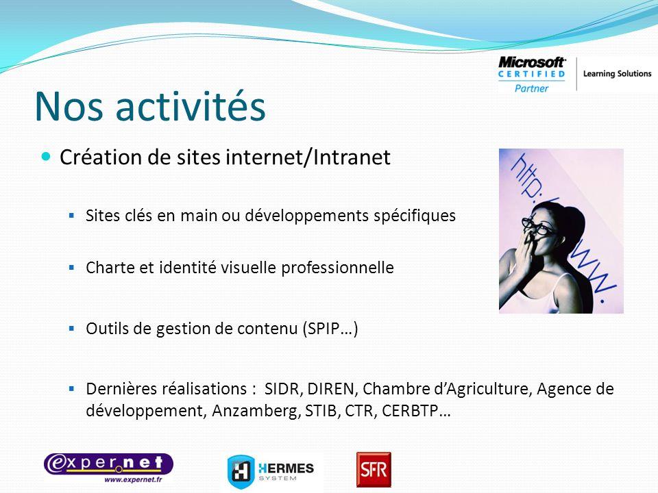 Nos activités Création de sites internet/Intranet Sites clés en main ou développements spécifiques Charte et identité visuelle professionnelle Outils