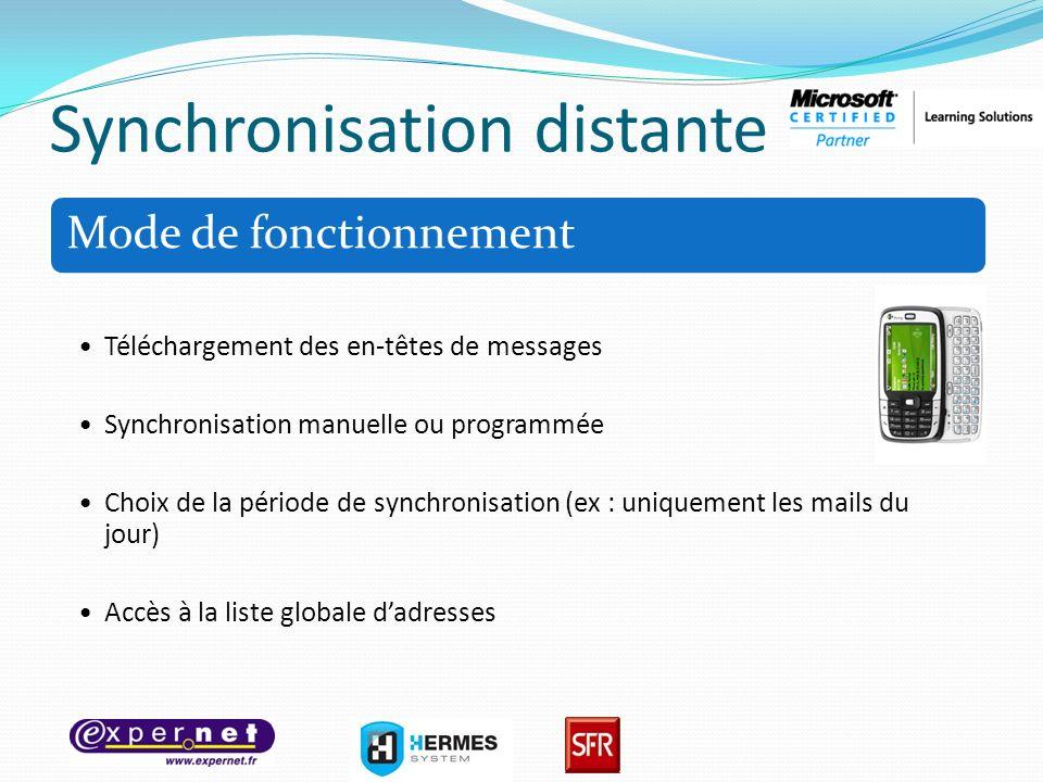 Synchronisation distante Mode de fonctionnement Téléchargement des en-têtes de messages Synchronisation manuelle ou programmée Choix de la période de