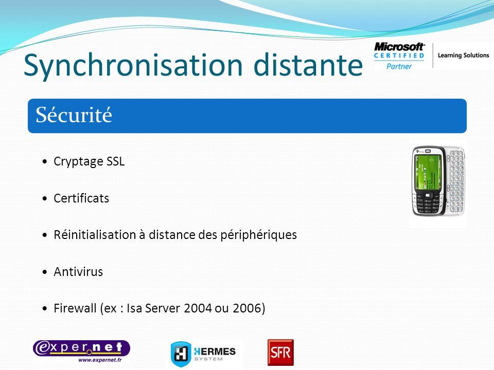 Synchronisation distante Sécurité Cryptage SSL Certificats Réinitialisation à distance des périphériques Antivirus Firewall (ex : Isa Server 2004 ou 2