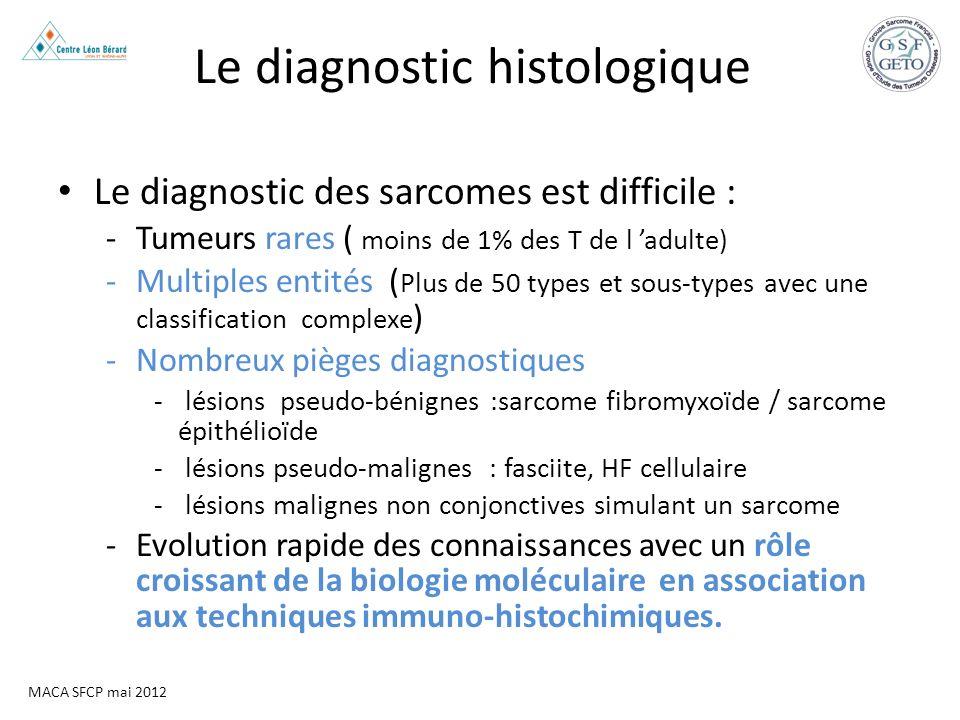 MACA SFCP mai 2012 Le diagnostic histologique Le diagnostic des sarcomes est difficile : -Tumeurs rares ( moins de 1% des T de l adulte) -Multiples en