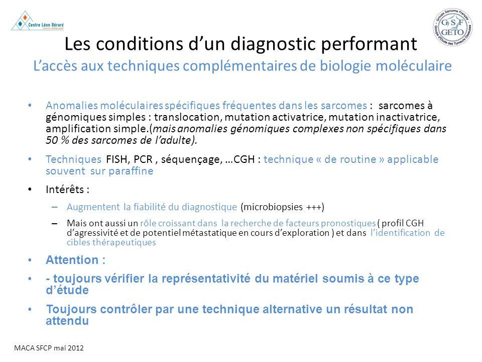 MACA SFCP mai 2012 Les conditions dun diagnostic performant Laccès aux techniques complémentaires de biologie moléculaire Anomalies moléculaires spéci