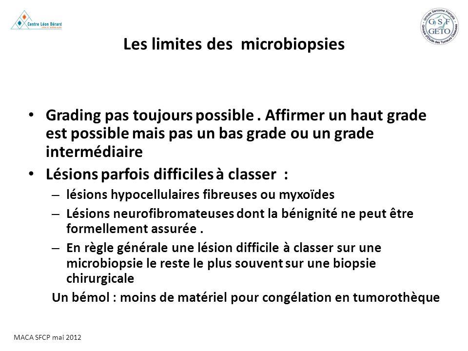 MACA SFCP mai 2012 Les limites des microbiopsies Grading pas toujours possible. Affirmer un haut grade est possible mais pas un bas grade ou un grade