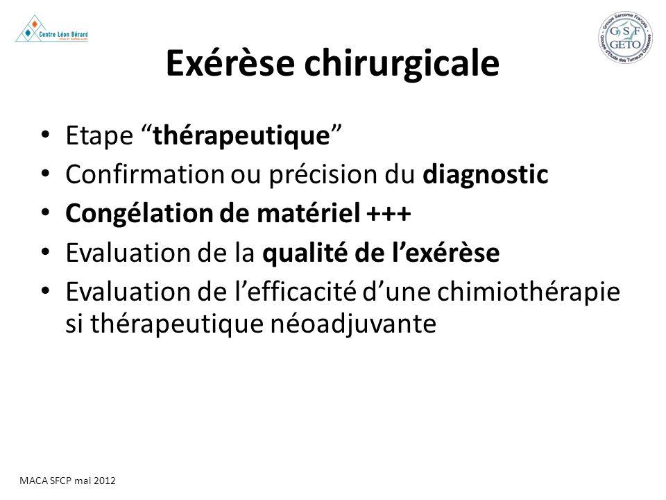 MACA SFCP mai 2012 Exérèse chirurgicale Etape thérapeutique Confirmation ou précision du diagnostic Congélation de matériel +++ Evaluation de la quali