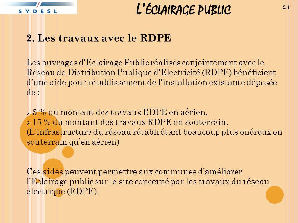 L ÉCLAIRAGE PUBLIC 2. Les travaux avec le RDPE Les ouvrages dEclairage Public réalisés conjointement avec le Réseau de Distribution Publique dElectric