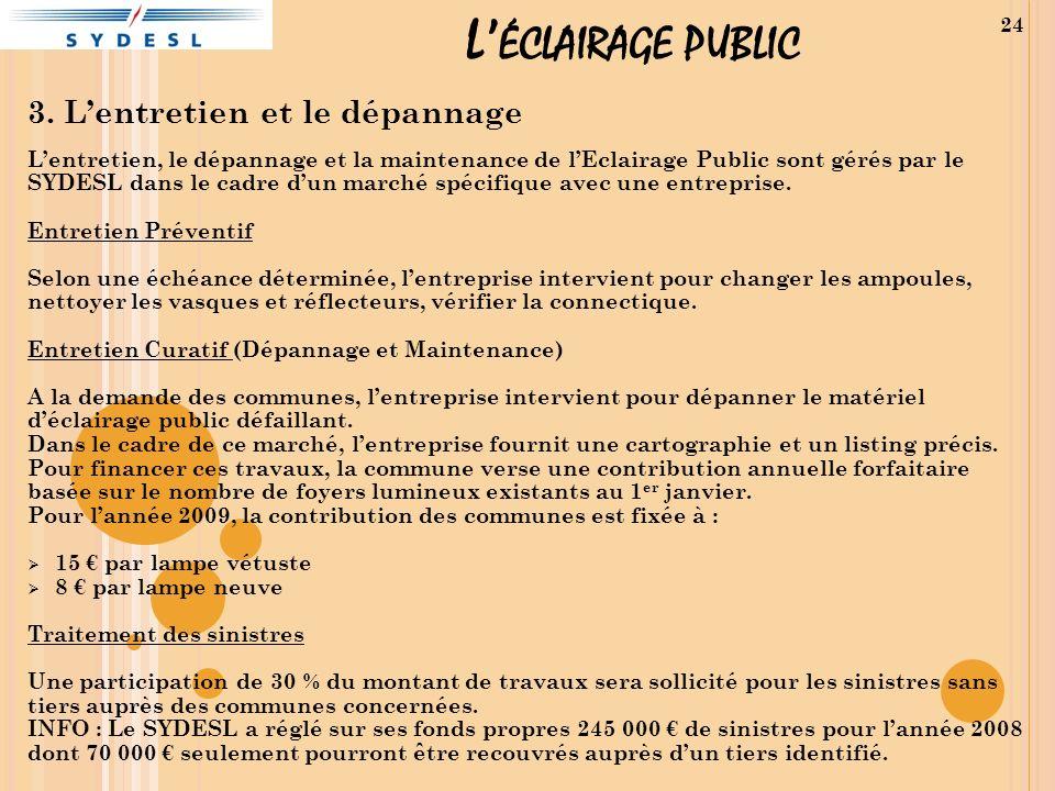 L ÉCLAIRAGE PUBLIC 3. Lentretien et le dépannage Lentretien, le dépannage et la maintenance de lEclairage Public sont gérés par le SYDESL dans le cadr