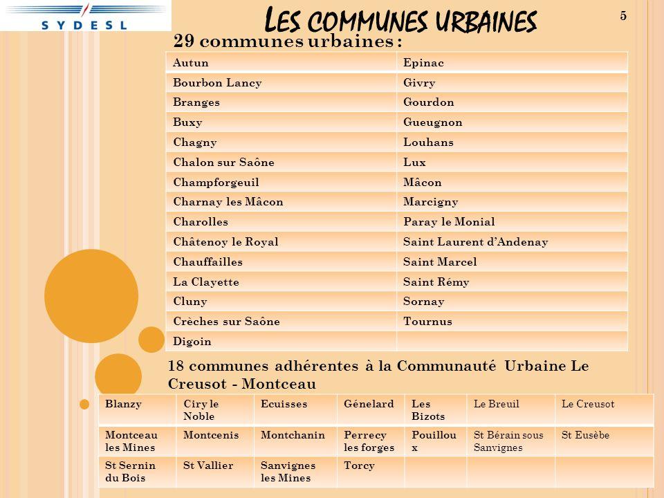 L ES COMMUNES URBAINES 29 communes urbaines : 5 AutunEpinac Bourbon LancyGivry BrangesGourdon BuxyGueugnon ChagnyLouhans Chalon sur SaôneLux Champforg