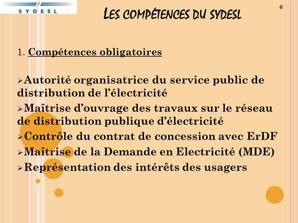L ES COMPÉTENCES DU SYDESL 1. Compétences obligatoires Autorité organisatrice du service public de distribution de lélectricité Maîtrise douvrage des