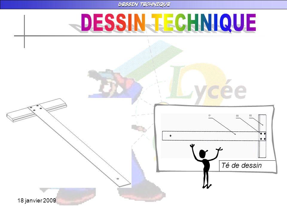 DESSIN TECHNIQUE 18 janvier 2009 vIII – LES TRAITS Plusieurs types de traits sont employés en dessin technique.