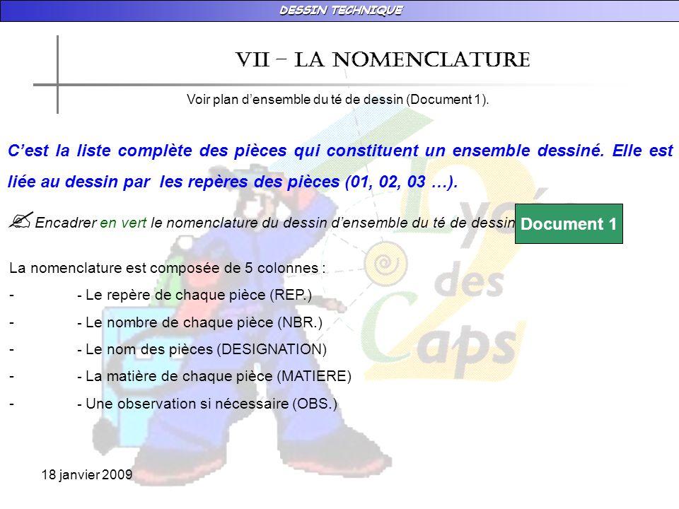 DESSIN TECHNIQUE 18 janvier 2009 vII – LA NOMENCLATURE Voir plan densemble du té de dessin (Document 1).