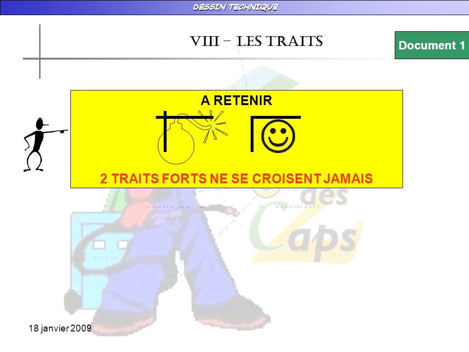 DESSIN TECHNIQUE 18 janvier 2009 vIII – LES TRAITS Document 1 A RETENIR 2 TRAITS FORTS NE SE CROISENT JAMAIS