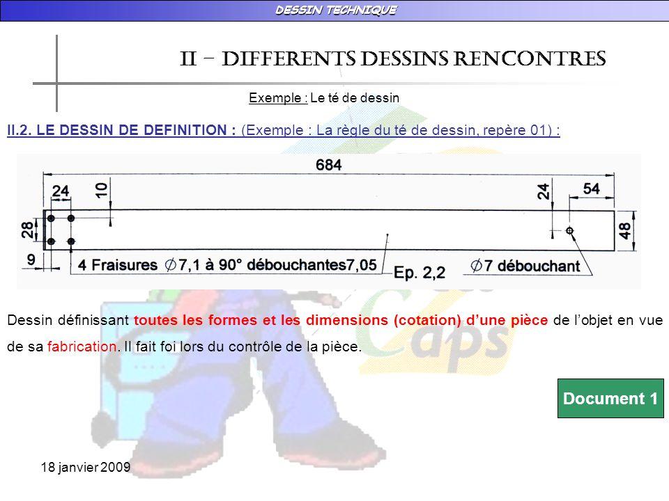 DESSIN TECHNIQUE 18 janvier 2009 II – DIFFERENTS DESSINS RENCONTRES Exemple : Le té de dessin II.3.