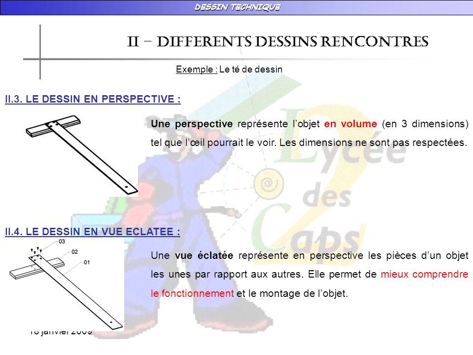 DESSIN TECHNIQUE 18 janvier 2009 II – DIFFERENTS DESSINS RENCONTRES Exemple : Le té de dessin II.3. LE DESSIN EN PERSPECTIVE : Une perspective représe