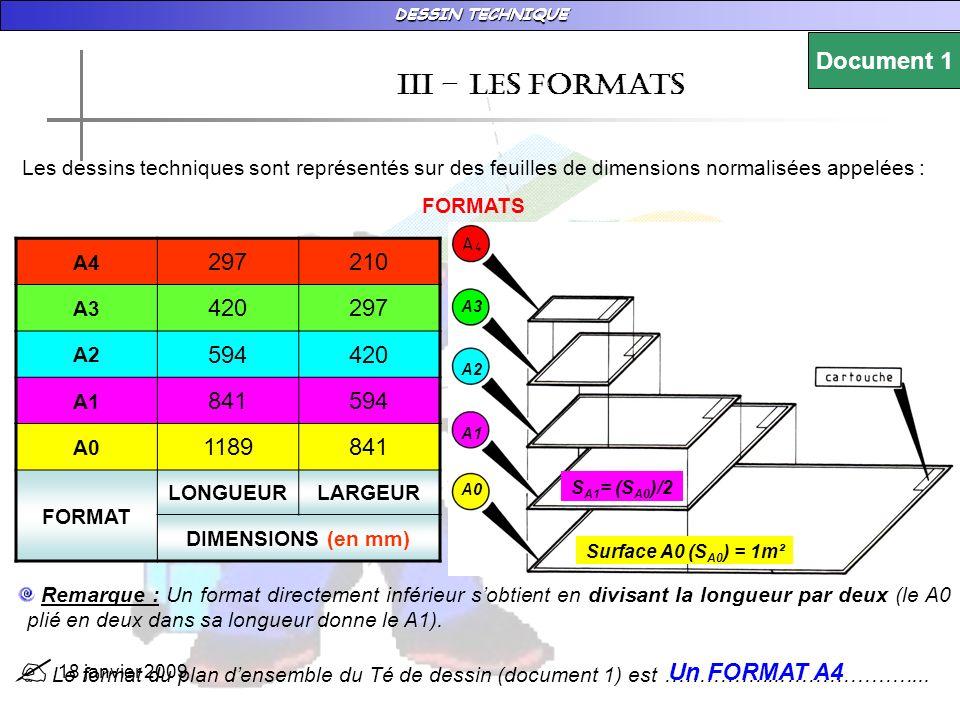 DESSIN TECHNIQUE 18 janvier 2009 IIi – les formats Les dessins techniques sont représentés sur des feuilles de dimensions normalisées appelées : FORMATS A4 297210 A3 420297 A2 594420 A1 841594 A0 1189841 FORMAT LONGUEURLARGEUR DIMENSIONS (en mm) A3 A2 A1 A0 Surface A0 (S A0 ) = 1m² S A1 = (S A0 )/2 Remarque : Un format directement inférieur sobtient en divisant la longueur par deux (le A0 plié en deux dans sa longueur donne le A1).