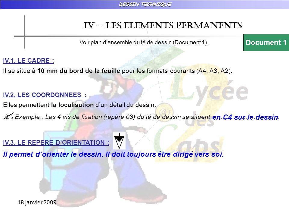 DESSIN TECHNIQUE 18 janvier 2009 Iv – les ELEMENTS PERMANENTS Voir plan densemble du té de dessin (Document 1). Document 1 IV.1. LE CADRE : Il se situ