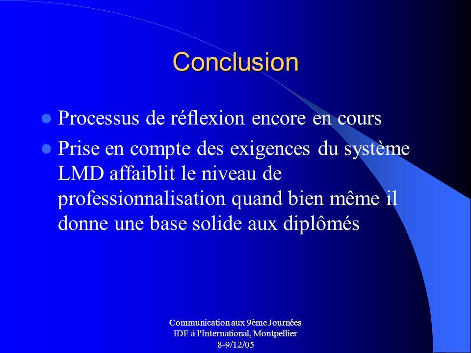 Communication aux 9ème Journées IDF à l International, Montpellier 8-9/12/05 Conclusion Processus de réflexion encore en cours Prise en compte des exigences du système LMD affaiblit le niveau de professionnalisation quand bien même il donne une base solide aux diplômés