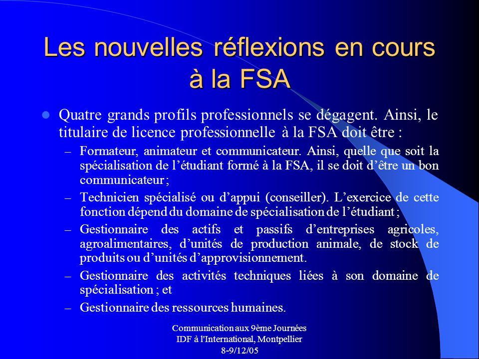 Communication aux 9ème Journées IDF à l International, Montpellier 8-9/12/05 Les nouvelles réflexions en cours à la FSA Quatre grands profils professionnels se dégagent.