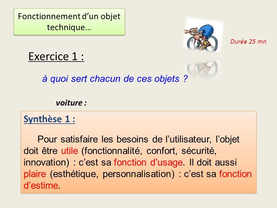 Fonctionnement dun objet technique… Durée 20 mn Exercice 2 : lequel des vélos préfères tu .