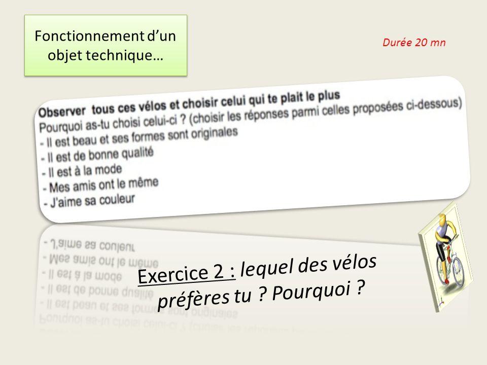 Fonctionnement dun objet technique… Exercice 2 : lequel des vélos préfères tu .