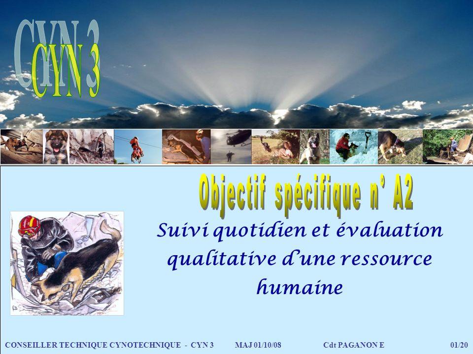 Suivi quotidien et évaluation qualitative dune ressource humaine CONSEILLER TECHNIQUE CYNOTECHNIQUE - CYN 3 MAJ 01/10/08 Cdt PAGANON E 01/20