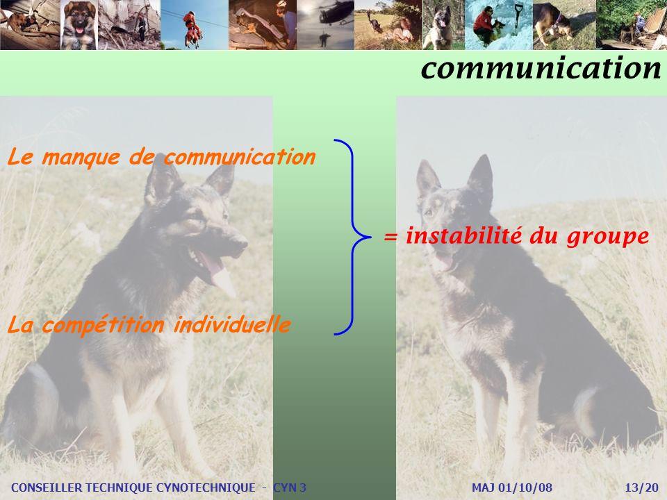 communication CONSEILLER TECHNIQUE CYNOTECHNIQUE - CYN 3 MAJ 01/10/08 13/20 Le manque de communication La compétition individuelle = instabilité du groupe