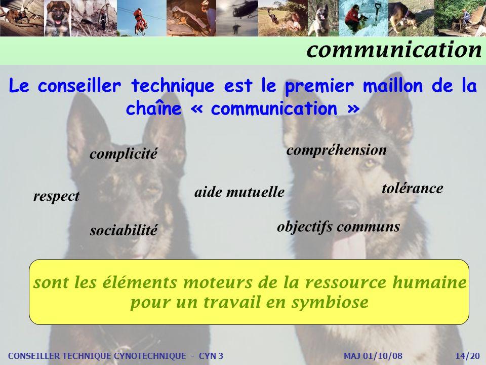 CONSEILLER TECHNIQUE CYNOTECHNIQUE - CYN 3 MAJ 01/10/08 14/20 Le conseiller technique est le premier maillon de la chaîne « communication » complicité