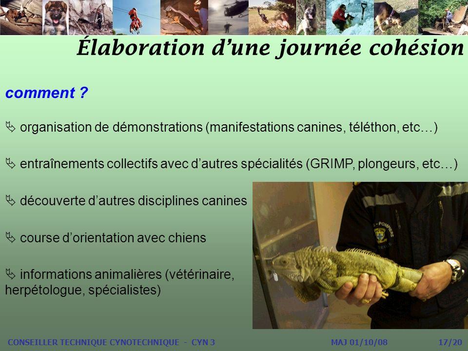 Élaboration dune journée cohésion CONSEILLER TECHNIQUE CYNOTECHNIQUE - CYN 3 MAJ 01/10/08 17/20 comment ? organisation de démonstrations (manifestatio