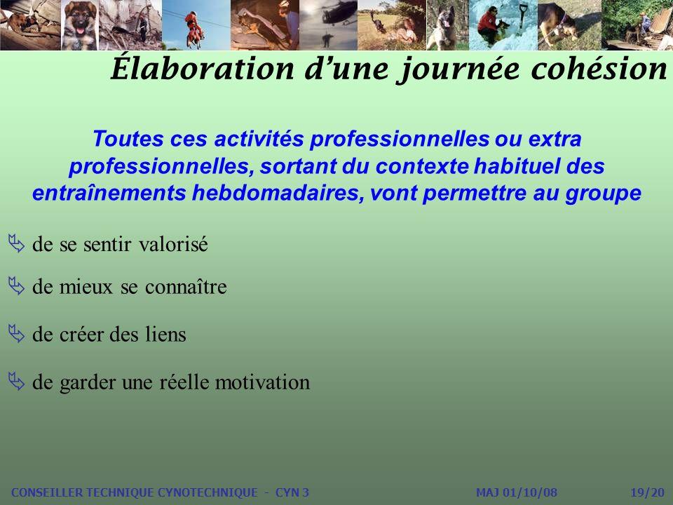 Élaboration dune journée cohésion CONSEILLER TECHNIQUE CYNOTECHNIQUE - CYN 3 MAJ 01/10/08 19/20 Toutes ces activités professionnelles ou extra profess