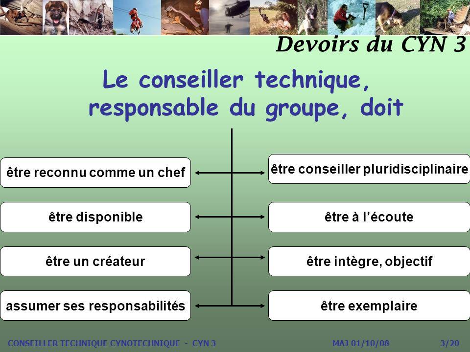 Le conseiller technique, responsable du groupe, doit Devoirs du CYN 3 être reconnu comme un chef être conseiller pluridisciplinaire être disponibleêtr