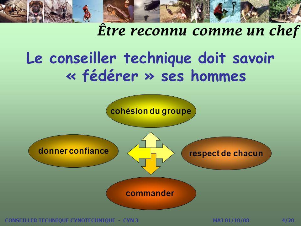 Le conseiller technique doit savoir « fédérer » ses hommes Être reconnu comme un chef cohésion du groupe donner confiance respect de chacun commander