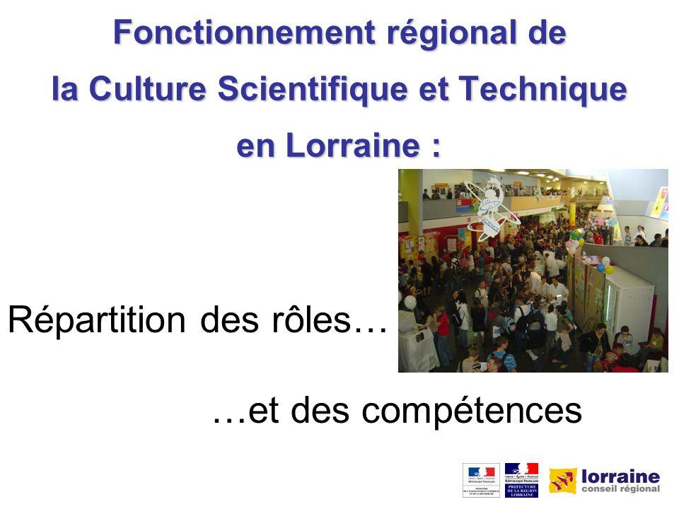 Fonctionnement régional de la Culture Scientifique et Technique en Lorraine : Répartition des rôles… …et des compétences