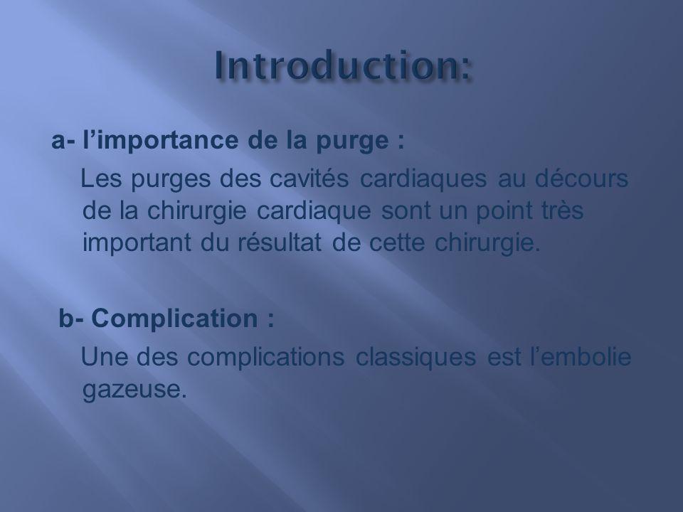 a- limportance de la purge : Les purges des cavités cardiaques au décours de la chirurgie cardiaque sont un point très important du résultat de cette chirurgie.