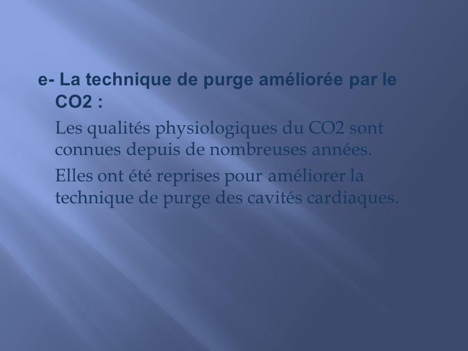 e- La technique de purge améliorée par le CO2 : Les qualités physiologiques du CO2 sont connues depuis de nombreuses années.