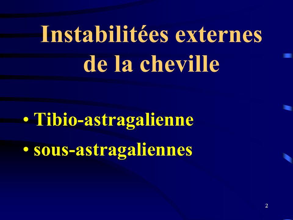 2 Instabilitées externes de la cheville Tibio-astragalienne sous-astragaliennes