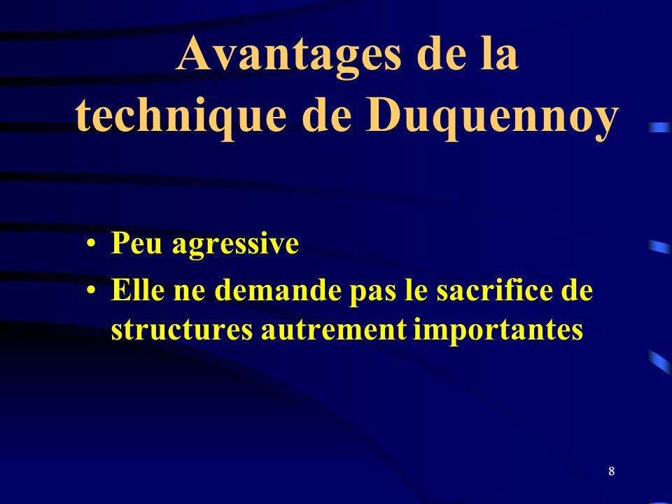 8 Avantages de la technique de Duquennoy Peu agressive Elle ne demande pas le sacrifice de structures autrement importantes
