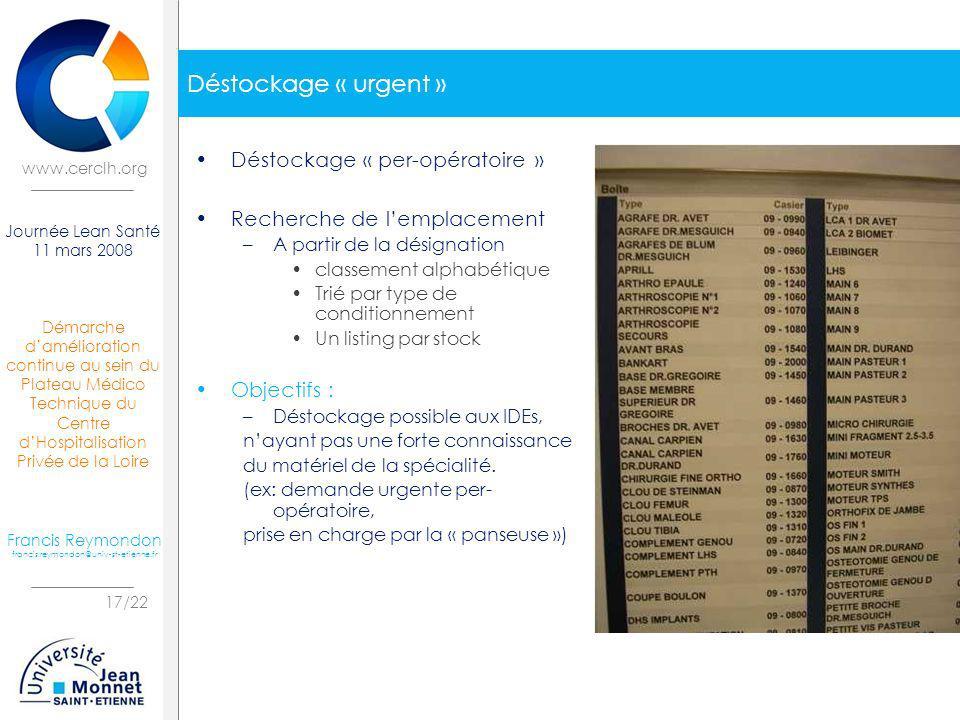 Démarche damélioration continue au sein du Plateau Médico Technique du Centre dHospitalisation Privée de la Loire 17/22 Journée Lean Santé 11 mars 200