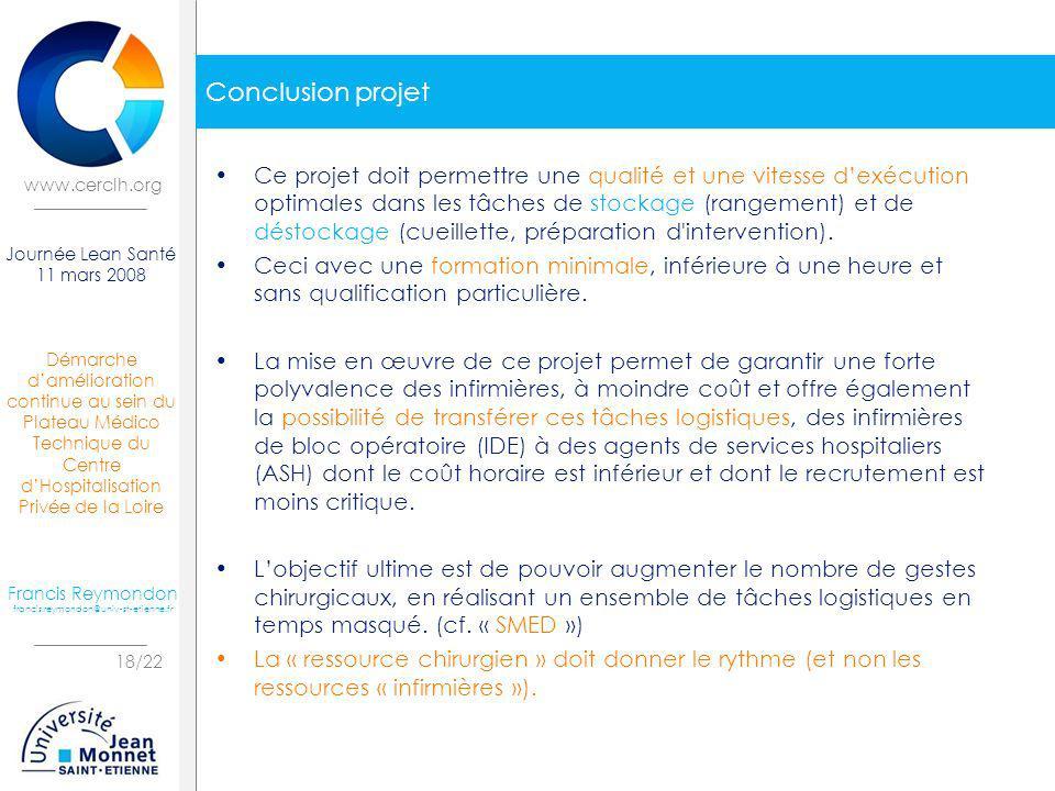 Démarche damélioration continue au sein du Plateau Médico Technique du Centre dHospitalisation Privée de la Loire 18/22 Journée Lean Santé 11 mars 200