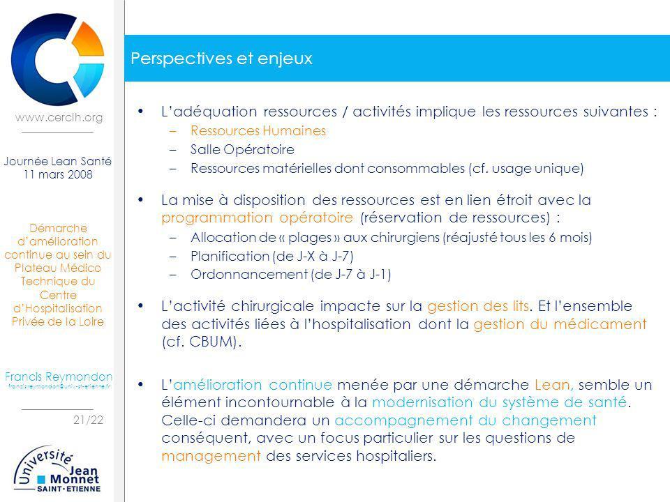 Démarche damélioration continue au sein du Plateau Médico Technique du Centre dHospitalisation Privée de la Loire 21/22 Journée Lean Santé 11 mars 200
