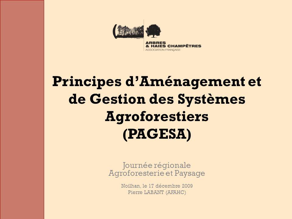 Principes dAménagement et de Gestion des Systèmes Agroforestiers (PAGESA) Journée régionale Agroforesterie et Paysage Noilhan, le 17 décembre 2009 Pierre LABANT (AFAHC)