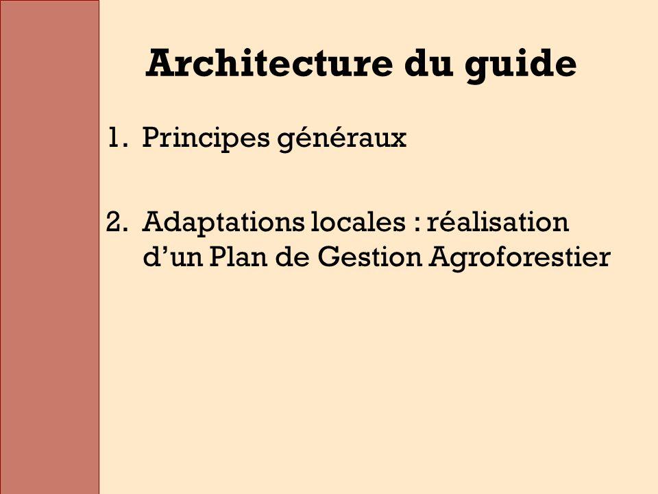 Architecture du guide 1.Principes généraux 2.Adaptations locales : réalisation dun Plan de Gestion Agroforestier