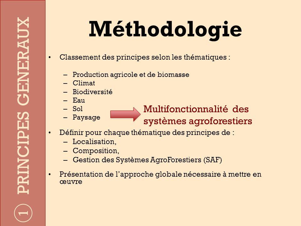 Méthodologie Classement des principes selon les thématiques : – Production agricole et de biomasse – Climat – Biodiversité – Eau – Sol – Paysage Défin
