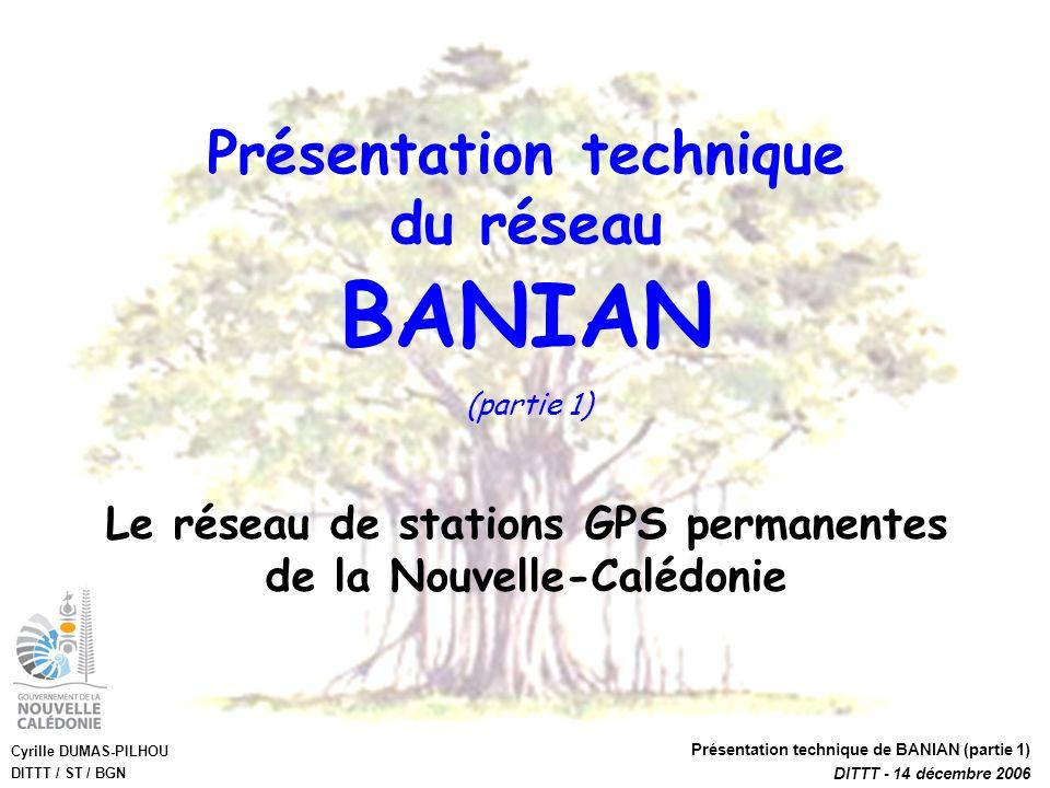 Cyrille DUMAS-PILHOU DITTT / ST / BGN Présentation technique de BANIAN (partie 1) DITTT - 14 décembre 2006 Présentation technique du réseau Le réseau