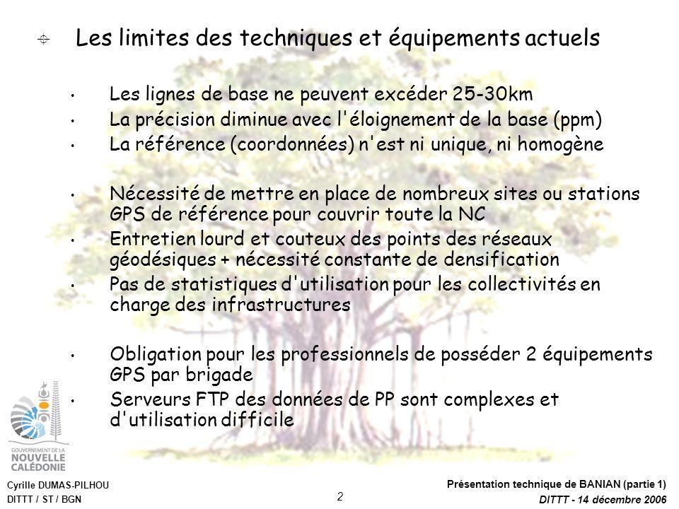 Cyrille DUMAS-PILHOU DITTT / ST / BGN Présentation technique de BANIAN (partie 1) DITTT - 14 décembre 2006 2 Les limites des techniques et équipements