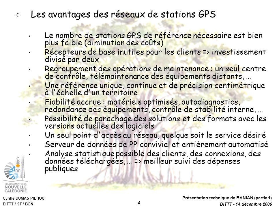 Cyrille DUMAS-PILHOU DITTT / ST / BGN Présentation technique de BANIAN (partie 1) DITTT - 14 décembre 2006 4 Les avantages des réseaux de stations GPS