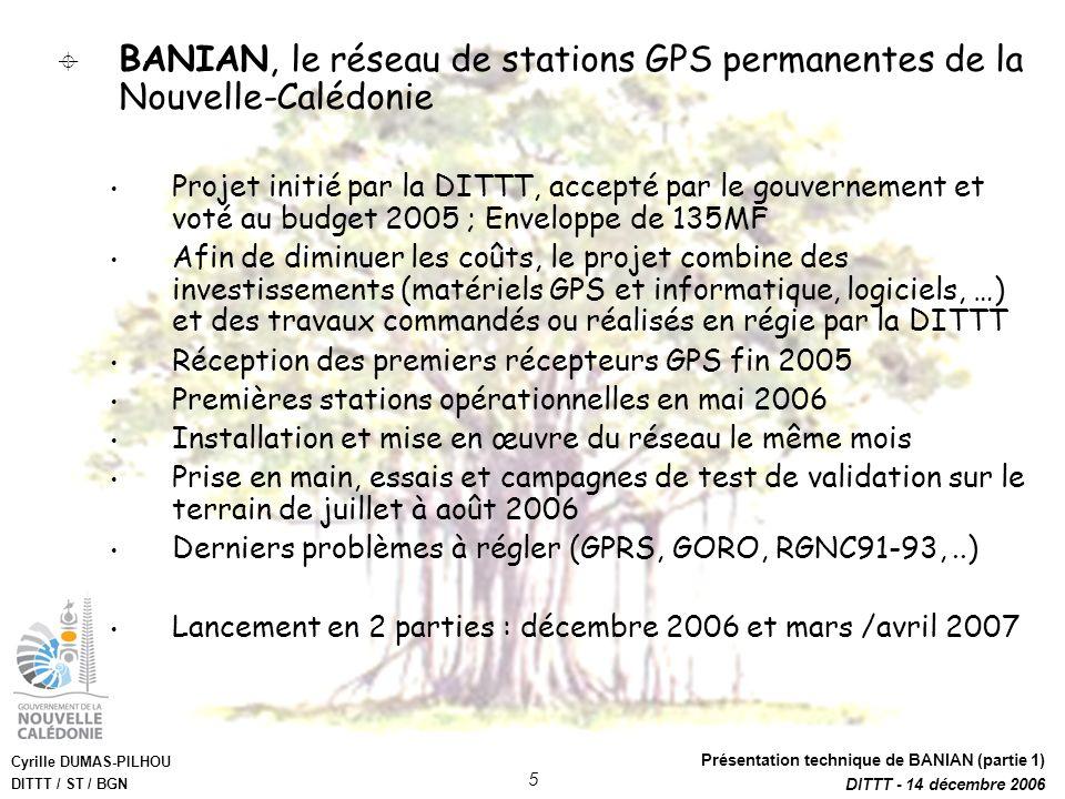 Cyrille DUMAS-PILHOU DITTT / ST / BGN Présentation technique de BANIAN (partie 1) DITTT - 14 décembre 2006 5 BANIAN, le réseau de stations GPS permane
