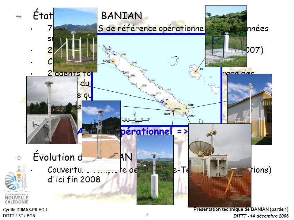 Cyrille DUMAS-PILHOU DITTT / ST / BGN Présentation technique de BANIAN (partie 1) DITTT - 14 décembre 2006 7 État actuel de BANIAN 7 stations GPS de r