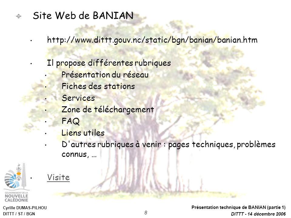 Cyrille DUMAS-PILHOU DITTT / ST / BGN Présentation technique de BANIAN (partie 1) DITTT - 14 décembre 2006 8 Site Web de BANIAN http://www.dittt.gouv.