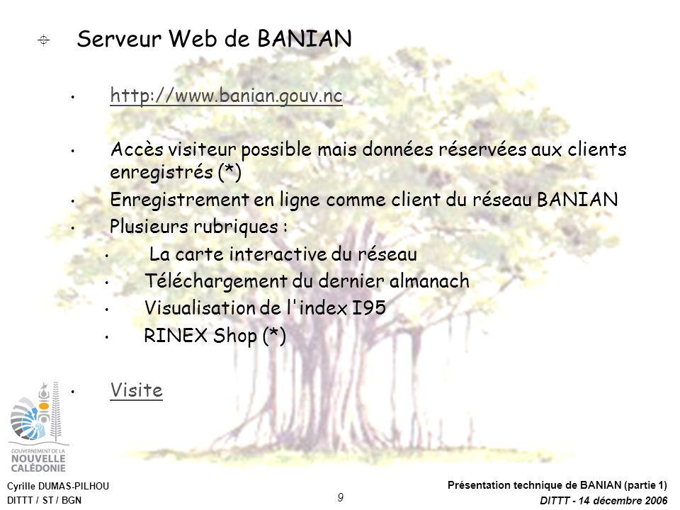 Cyrille DUMAS-PILHOU DITTT / ST / BGN Présentation technique de BANIAN (partie 1) DITTT - 14 décembre 2006 9 Serveur Web de BANIAN http://www.banian.g