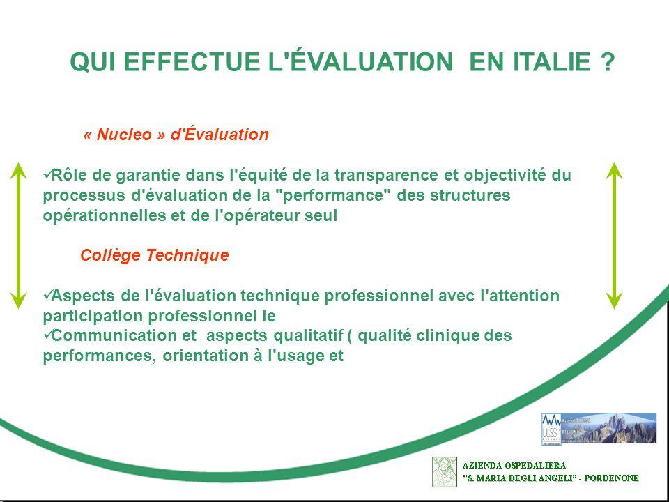 QUI EFFECTUE L'ÉVALUATION EN ITALIE ? « Nucleo » d'Évaluation Rôle de garantie dans l'équité de la transparence et objectivité du processus d'évaluati