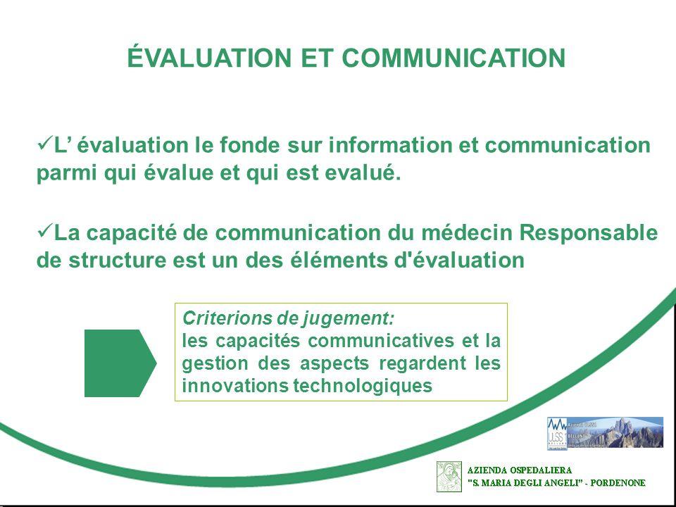 ÉVALUATION ET COMMUNICATION La capacité de communication du médecin Responsable de structure est un des éléments d'évaluation L évaluation le fonde su